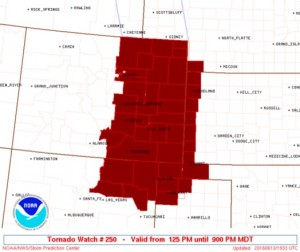 Image of the Tornado Watch issued until 9:00pm MDT