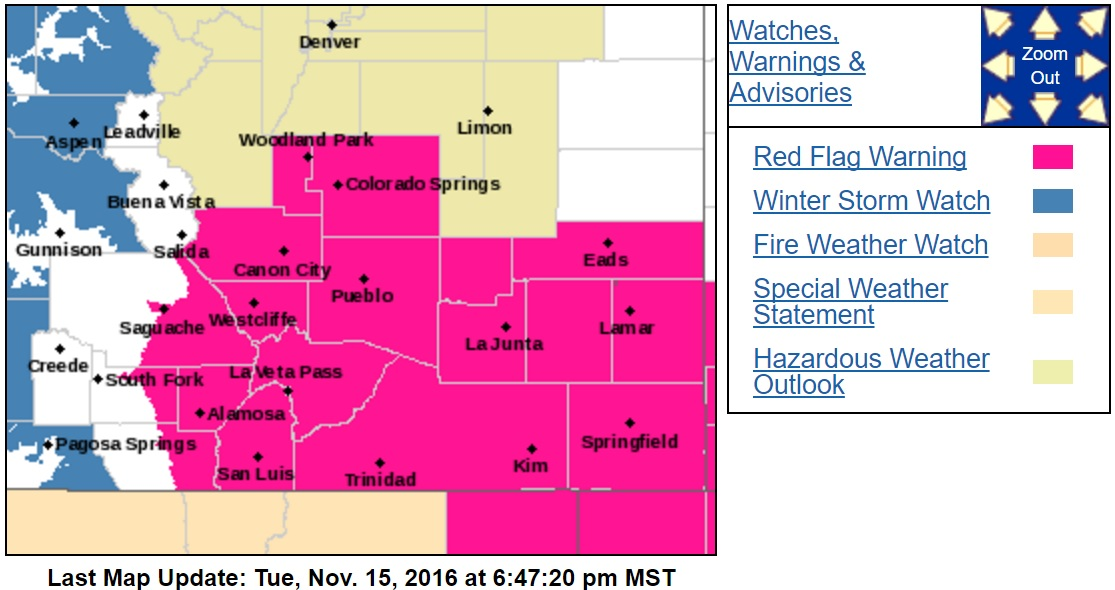 Map of Red Flag Warning issued for southeast Colorado